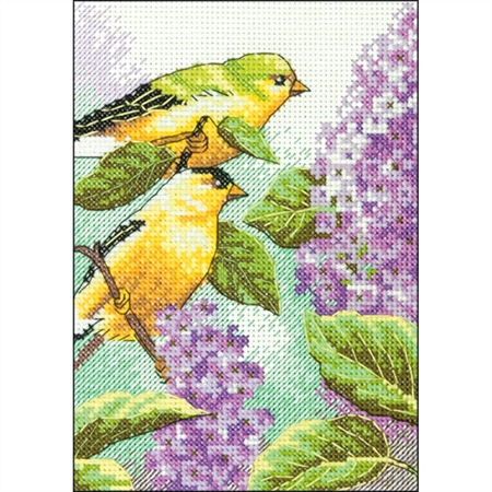 Mini Goldfinch and Lilacs Counted Cross Stitch Kit