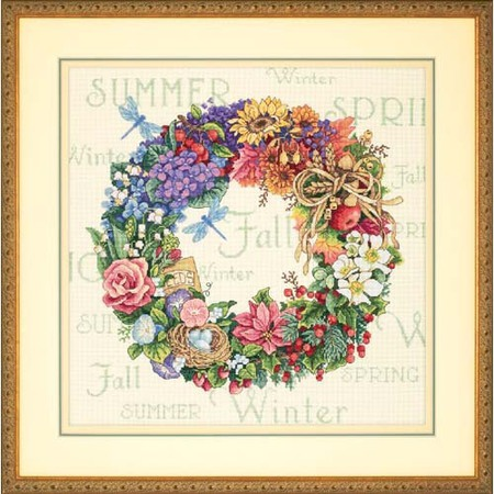 Gold Collection Wreath Of All Seasons Counted Cross Stitch Kit