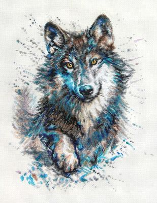 Snow Splashes Wolf Counted Cross Stitch Kit