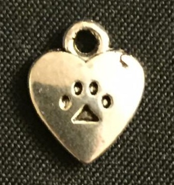 Silver Paw Print And Heart Charm