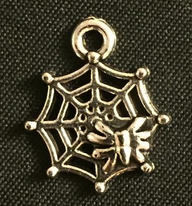 Silver Spider In Web Charm