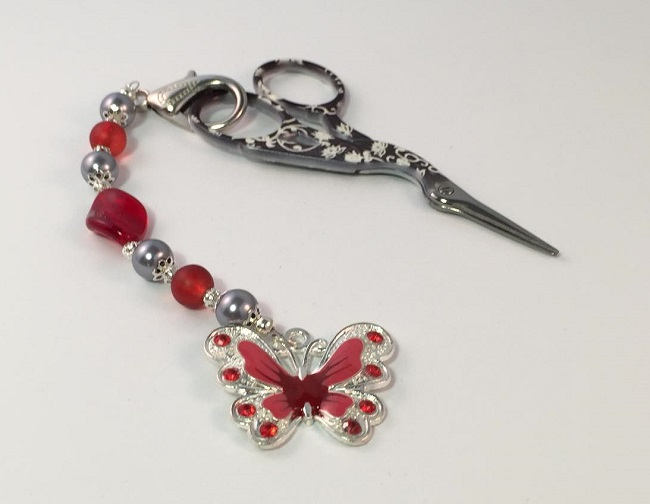 Red Butterfly Scissor Fob