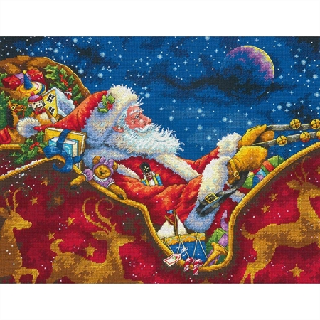 Gold Collection Santa's Midnight Ride Counted Cross Stitch Kit