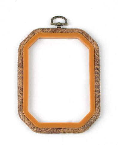 Plastic Faux Wood Grain Hoop Rectangle
