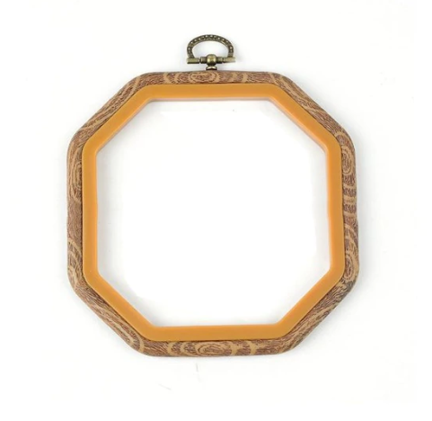 Plastic Faux Wood Grain Hoop Octagon