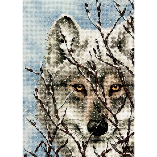 Gold Petites Wolf Counted Cross Stitch Kit