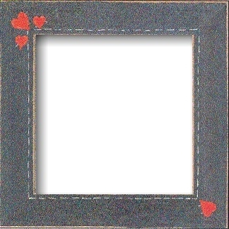 Matte Black With Primitive Heart Border Frame