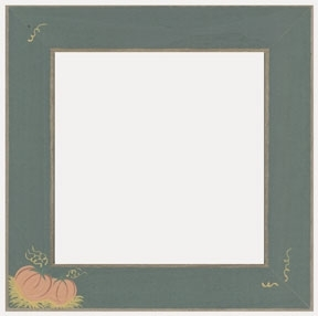 Matte Green With Pumpkins Frame