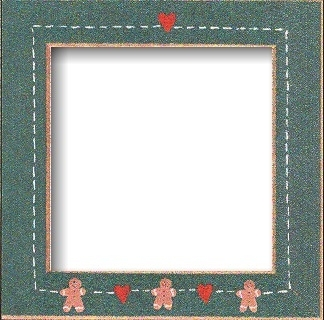 Matte Green With Gingerbread Hearts Frame