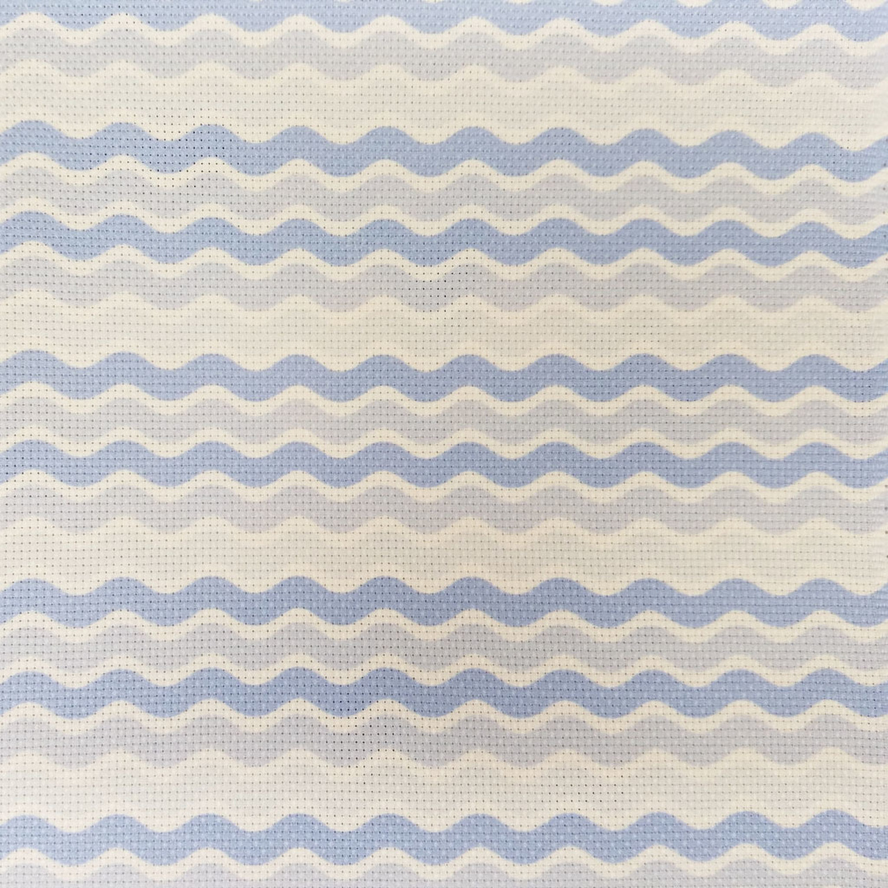 Blue Waves Patterned Cross Stitch Fabric