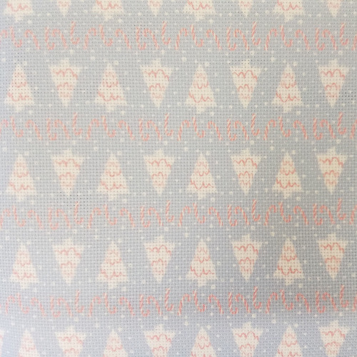 Christmas Trees & Peppermint Patterned Cross Stitch Fabric