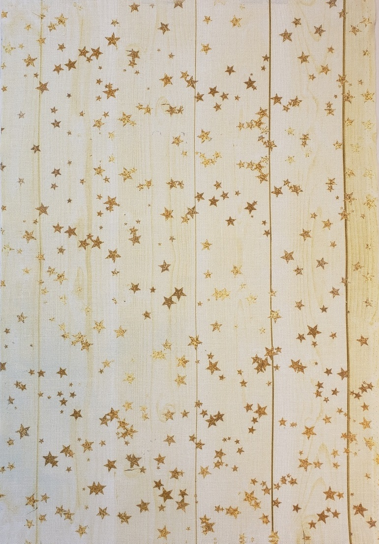 Board With Stars - Cream Patterned Cross Stitch Fabric