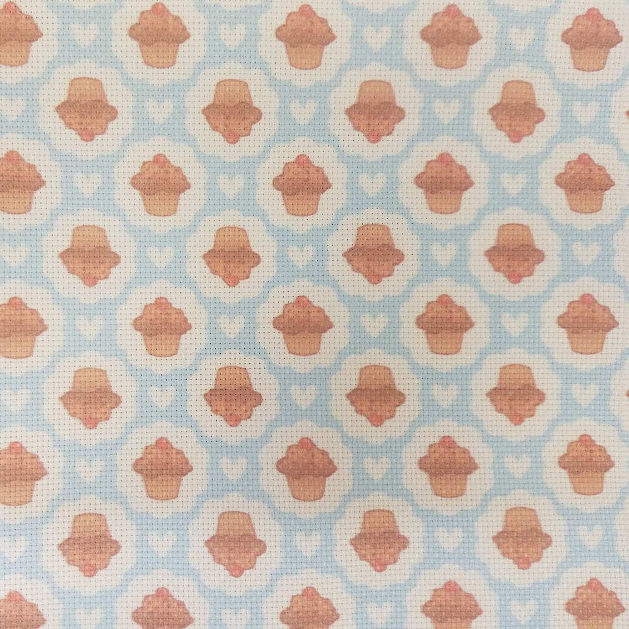 Cupcakes On Blue Patterned Cross Stitch Fabric