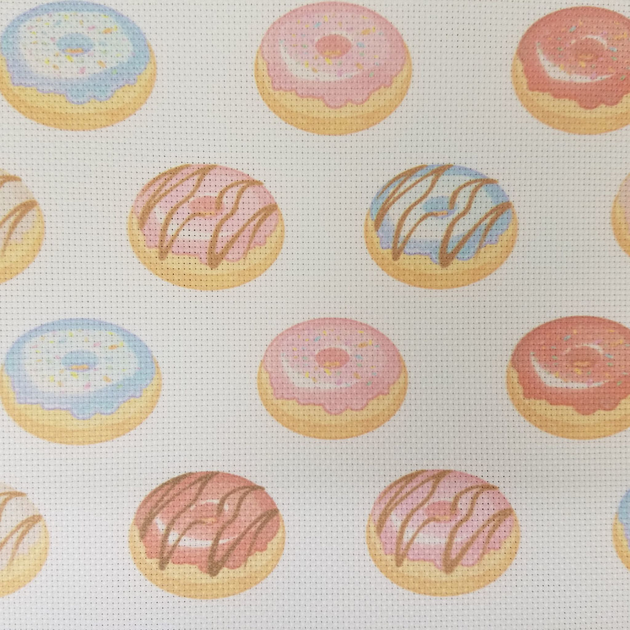 Donut Time Patterned Cross Stitch Fabric