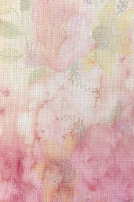 Flower Champagne Patterned Cross Stitch Fabric