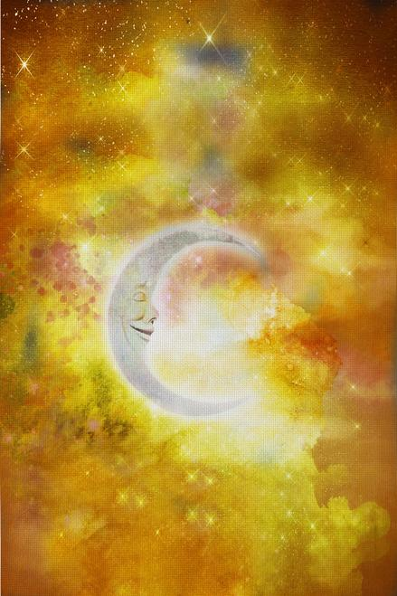 Golden Sleeping Moon Patterned Cross Stitch Fabric