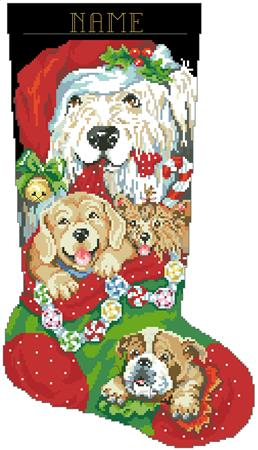 Puppies for Christmas Stocking