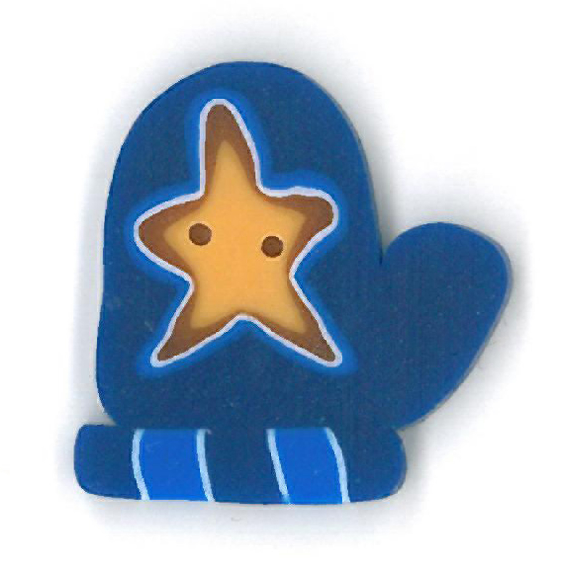 Blue Mitten With Star - Large