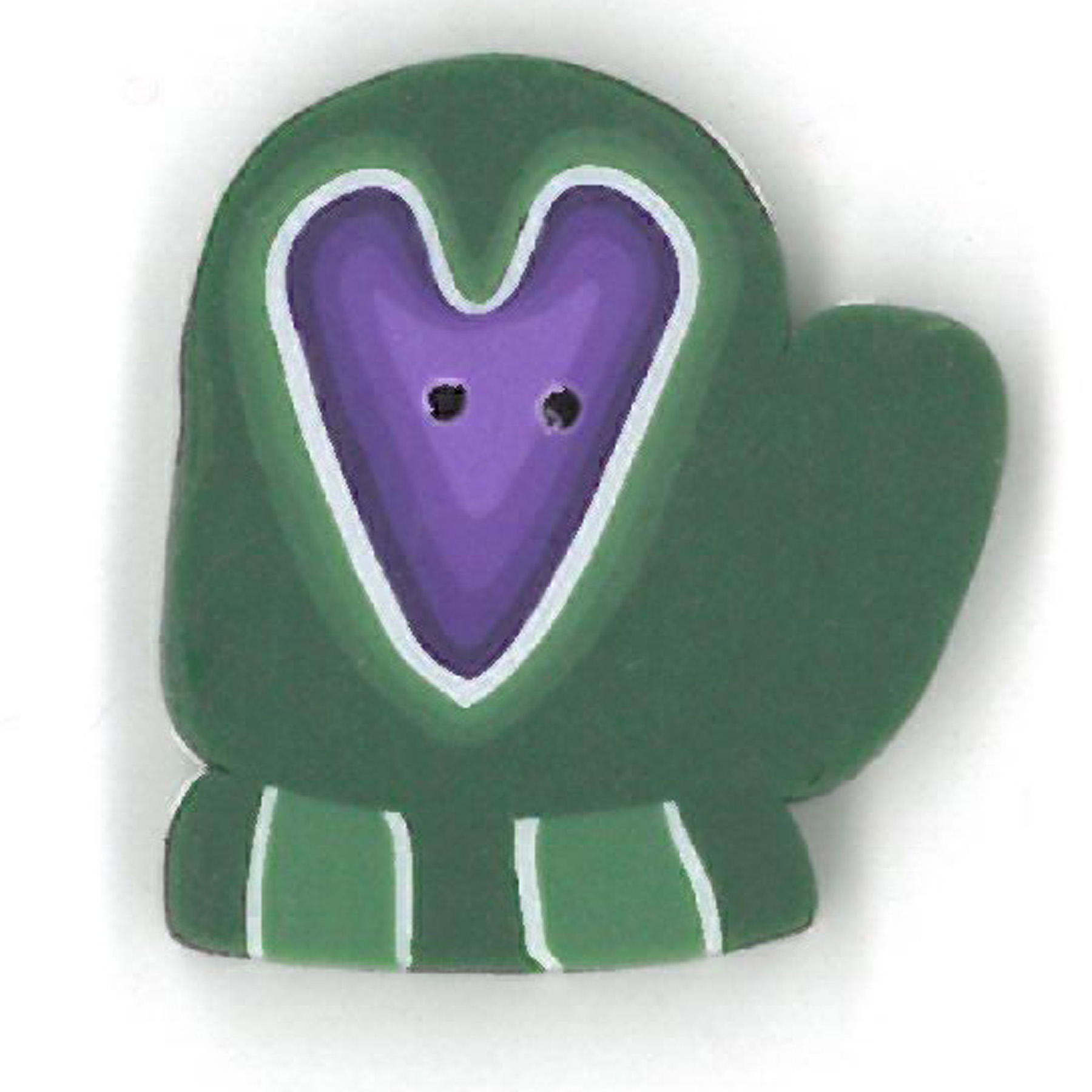 Green Mitten With Heart - Large