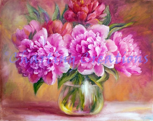 Small Peonies In A Vase